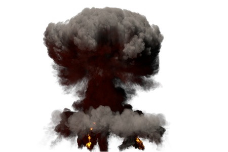 huge fire mushroom cloud explosion with smoke and flames - looks like atom bomb or any other big explosive isolated on white background - big blast 3D illustration Stock Photo