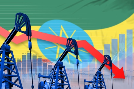 Ethiopia oil industry concept, industrial illustration - lowering, falling graph on Ethiopia flag background. 3D Illustration Banque d'images - 115249954