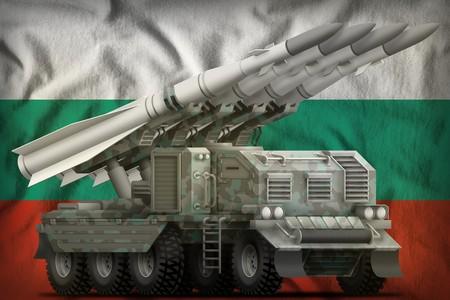 tactical short range ballistic missile with arctic camouflage on the Bulgaria flag background. 3d Illustration Banco de Imagens