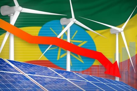 Ethiopia solar and wind energy lowering chart, arrow down  - environmental energy industrial illustration. 3D Illustration
