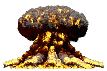 huge fire mushroom cloud explosion with smoke and flames - looks like nuclear bomb or any other big explosive isolated on white background - big blast 3D illustration