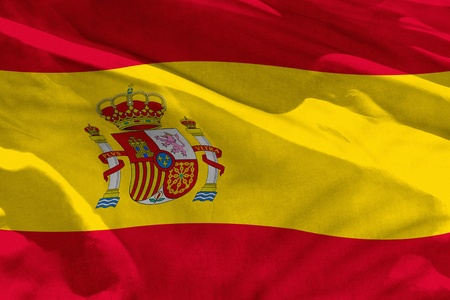 Fluttering Spain flag for using as texture or background, the flag is waving on the wind