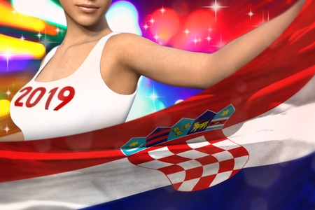 pretty woman is holding Croatia flag in front of her on the  party lights - Christmas and 2019 New Year flag concept 3d illustration