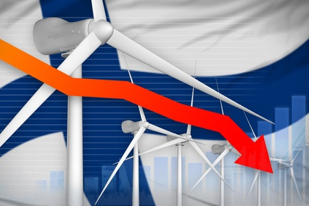 Finland wind energy power lowering chart, arrow down  - green energy industrial illustration. 3D Illustration