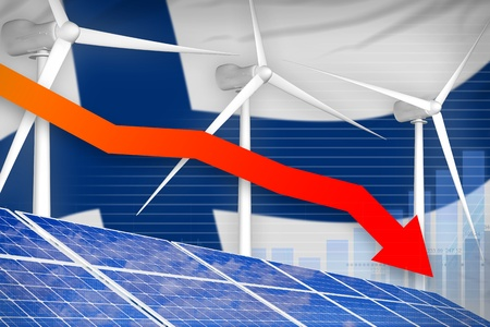 Finland solar and wind energy lowering chart, arrow down  - alternative energy industrial illustration. 3D Illustration