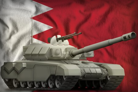 heavy tank on the Bahrain flag background. 3d Illustration