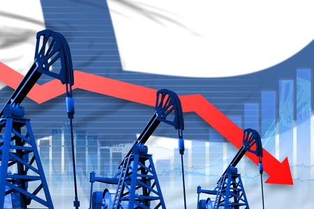 Finland oil industry concept, industrial illustration - lowering, falling graph on Finland flag background. 3D Illustration