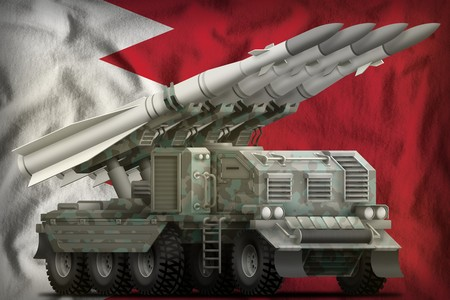 tactical short range ballistic missile with arctic camouflage on the Bahrain flag background. 3d Illustration