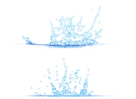 2 side views of cool water splash - 3D illustration, mockup isolated on white - for any purpose Stock Photo