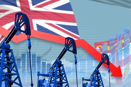 Fiji oil industry concept, industrial illustration - lowering, falling graph on Fiji flag background. 3D Illustration