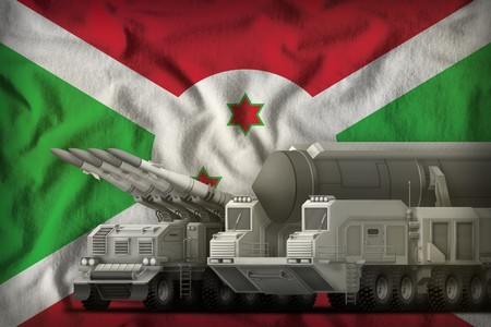 rocket forces on the Burundi flag background. Burundi rocket forces concept. 3d Illustration