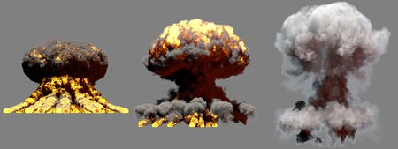3 large different phases fire mushroom cloud explosion of thermonuclear bomb with smoke and flames isolated on grey background - 3D illustration of explosion