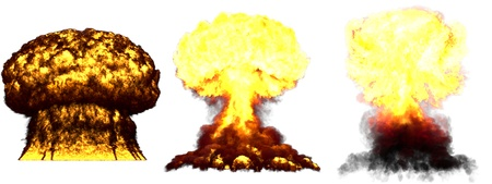 3 huge very detailed different phases mushroom cloud explosion of atom bomb with smoke and fire isolated on white - 3D illustration of explosion Banque d'images - 115532528