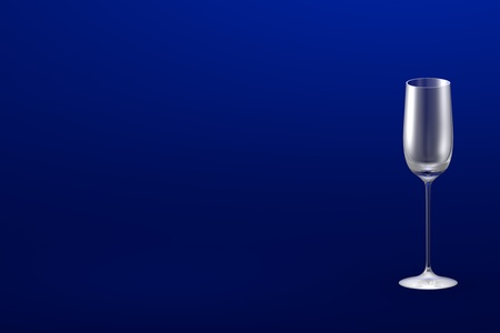 cordial liqueur glass on blue - mockup with place for your text - drinking glass render, 3D illustration