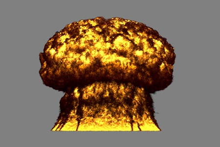 large very highly detailed mushroom cloud explosion with smoke and fire like from nuclear bomb or any other big explosives isolated on grey - blast 3D illustration
