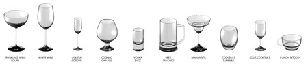 big set of different glasses for wines and cocktail drinks isolated on white, side-top view - drinking glass render 3D illustration Stock Photo