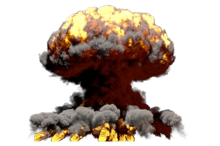 big fire mushroom cloud explosion with smoke and flames - looks like nuke bomb or any other big explosive isolated on white background - big blast 3D illustration