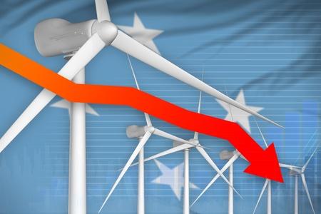 Micronesia wind energy power lowering chart, arrow down  - environmental energy industrial illustration. 3D Illustration