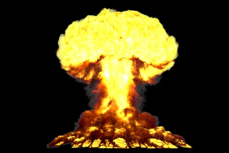 big highly detailed mushroom cloud explosion with smoke and fire like from thermonuclear bomb or any other big explosives isolated on black - blast 3D illustration Stock Photo