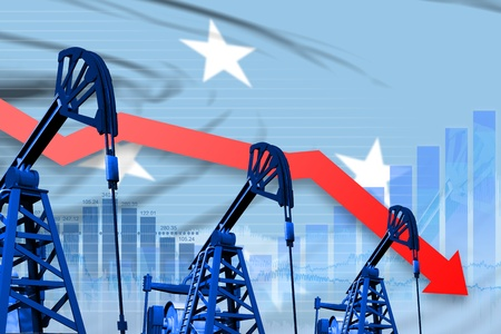Micronesia oil industry concept, industrial illustration - lowering, falling graph on Micronesia flag background. 3D Illustration Stock Photo