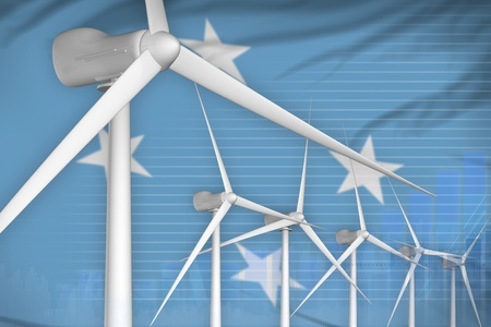 Micronesia wind energy power digital graph concept  - alternative energy industrial illustration. 3D Illustration