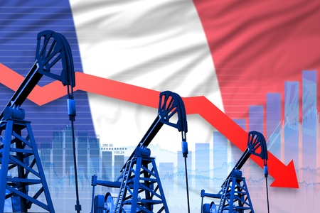 France oil industry concept, industrial illustration - lowering, falling graph on France flag background. 3D Illustration