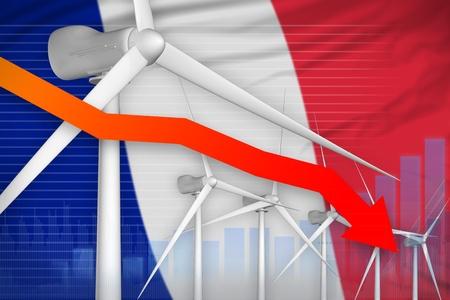 France wind energy power lowering chart, arrow down  - renewable energy industrial illustration. 3D Illustration Stock Photo