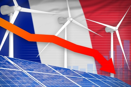 France solar and wind energy lowering chart, arrow down  - renewable energy industrial illustration. 3D Illustration