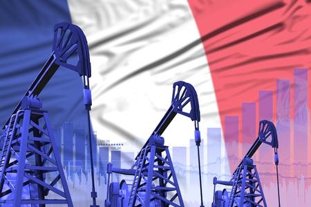 France oil and petrol industry concept, industrial illustration on France flag background. 3D Illustration