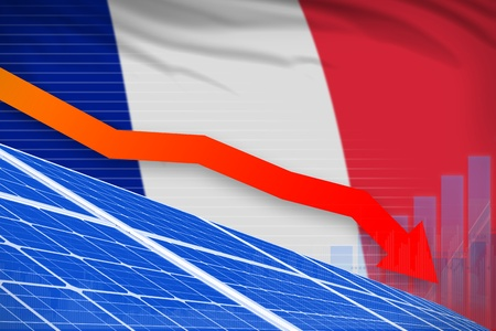 France solar energy power lowering chart, arrow down  - renewable energy industrial illustration. 3D Illustration