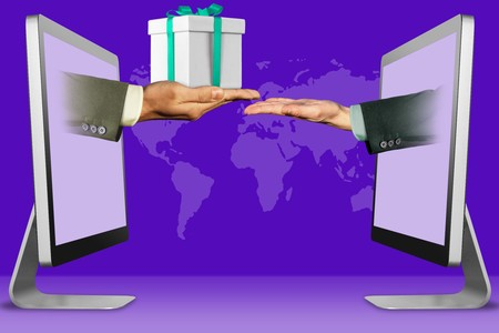 e-commerce concept, hands from computers. hand with gift box and pleading gesture . 3d illustration Stock Photo