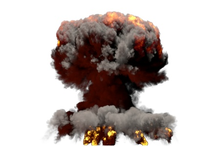 huge fire mushroom cloud explosion with smoke and flames - looks like hydrogen bomb or any other big explosive isolated on white background - big blast 3D illustration