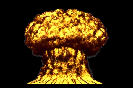 huge very high detailed mushroom cloud explosion with smoke and fire like from fusion bomb or any other big explosives isolated on black - blast 3D illustration Stock Photo
