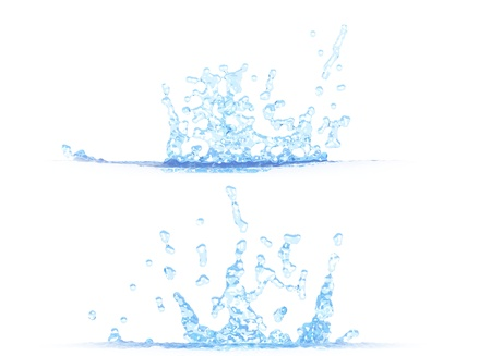 two side views of pretty water splash - 3D illustration, mockup isolated on white - for design purposes Stock Photo