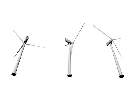 3 windmills view from bottom isolated on white background - wind power industrial illustration, 3D illustration