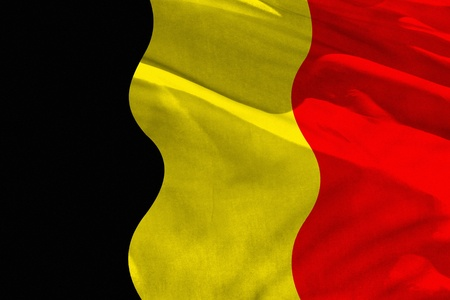 Fluttering Belgium flag for using as texture or background, the flag is waving on the wind