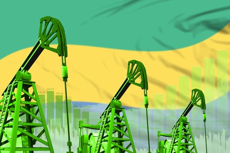Gabon oil and petrol industry concept, industrial illustration on Gabon flag background. 3D Illustration