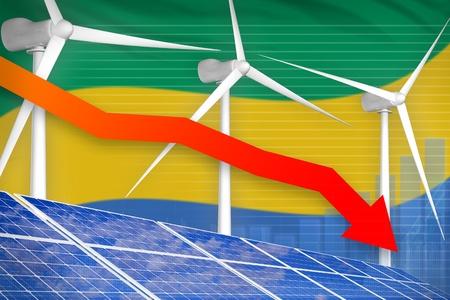 Gabon solar and wind energy lowering chart, arrow down  - green energy industrial illustration. 3D Illustration