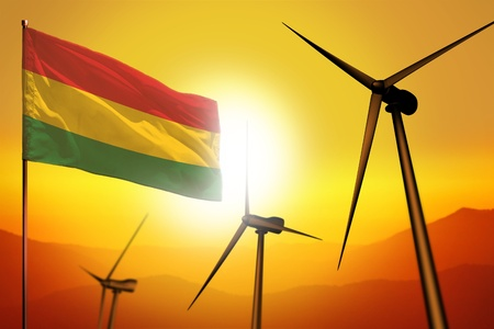 Bolivia wind energy, alternative energy environment concept with turbines and flag on sunset - alternative renewable energy - industrial illustration, 3D illustration