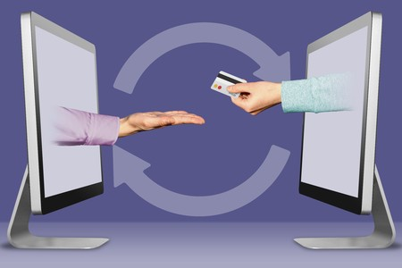 modern concept, hands from displays. pleading gesture and hand with credit card . 3d illustration