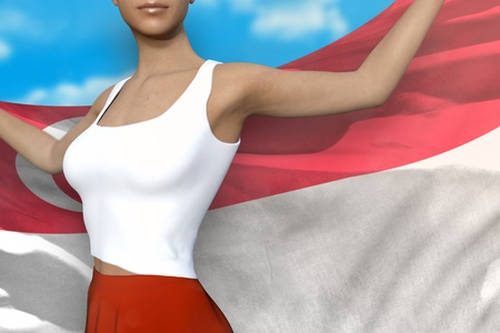 young girl in bright skirt is holding Singapore flag in her hands behind her on the cloudy sky background - flag concept 3d illustration