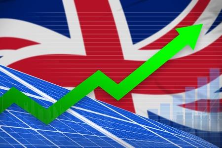 United Kingdom (UK) solar energy power rising chart, arrow up  - environmental energy industrial illustration. 3D Illustration