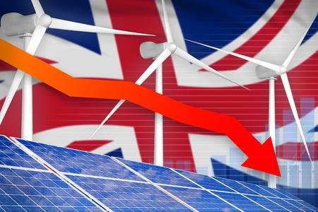 United Kingdom (UK) solar and wind energy lowering chart, arrow down  - green energy industrial illustration. 3D Illustration