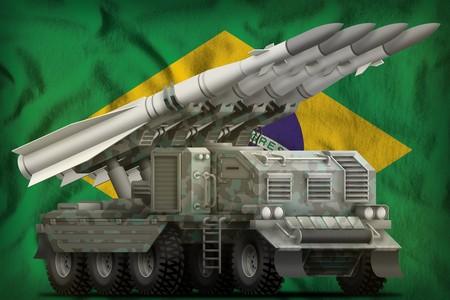 tactical short range ballistic missile with arctic camouflage on the Brazil flag background. 3d Illustration Banco de Imagens