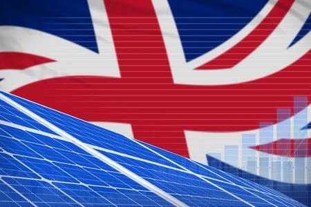 United Kingdom (UK) solar energy power digital graph concept  - modern energy industrial illustration. 3D Illustration