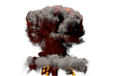 huge fire mushroom cloud explosion with smoke and flames - looks like atom bomb or any other big explosive isolated on white background - big blast 3D illustration 写真素材