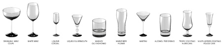 huge set of different glasses for cocktails and wine and other drinks isolated on white, side-top view - drinking glass render 3D illustration
