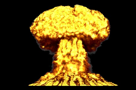 large highly detailed mushroom cloud explosion with smoke and fire like from thermonuclear bomb or any other big explosives isolated on black - blast 3D illustration Banque d'images - 116229587