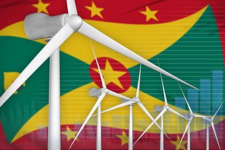 Grenada wind energy power digital graph concept  - alternative energy industrial illustration. 3D Illustration