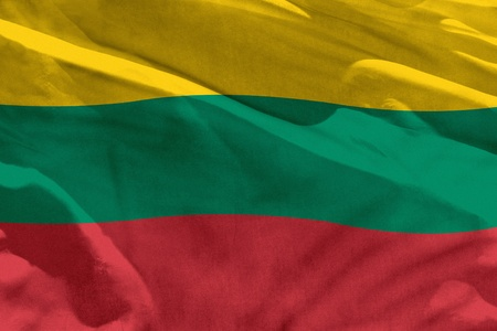 Fluttering Lithuania flag for using as texture or background, the flag is waving on the wind